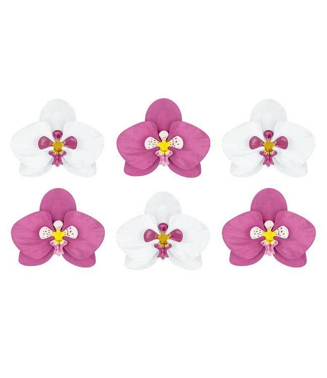 Partydeco Orchideeën Cut Outs - Set voor 6