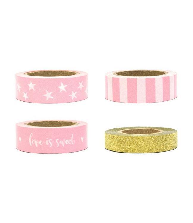 Partydeco Decoratieve Tapes Roze & Goud - set van 4 - Washi Tape
