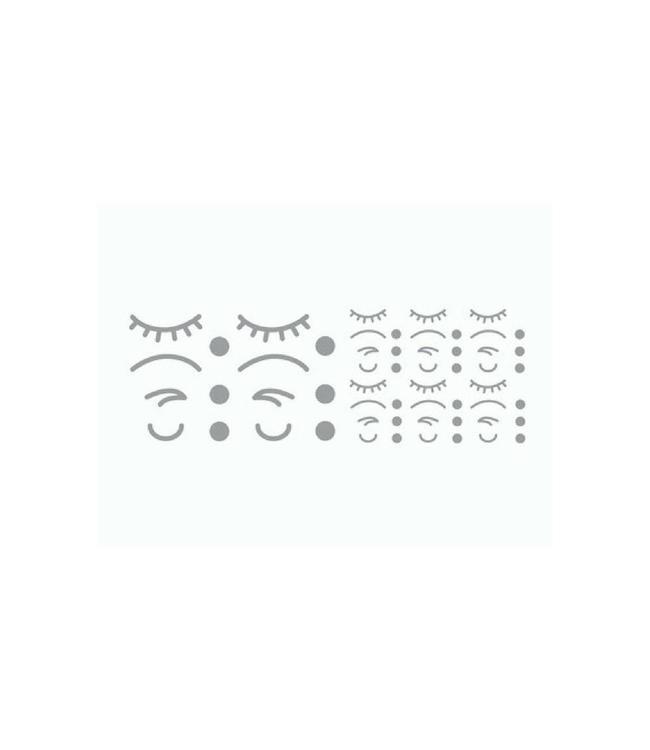 bb collections Stickers Iconen Gezicht Zilver (Klein) - 56 losse stickers