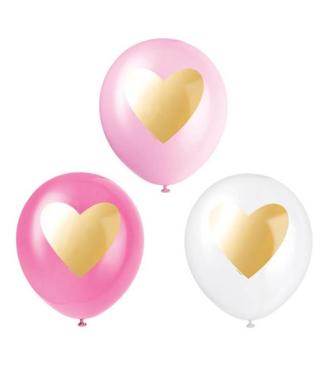 Unique Ballonnen Gouden Hart - 6 stuks - roze en wit
