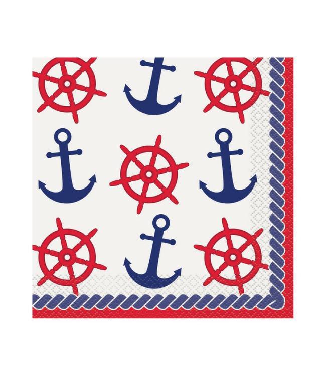 Unique Nautical Servetten - 16 stuks - nautische feestartikelen