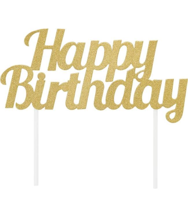 Creative Party Cake Topper 'Happy Birthday' Goud - per stuk