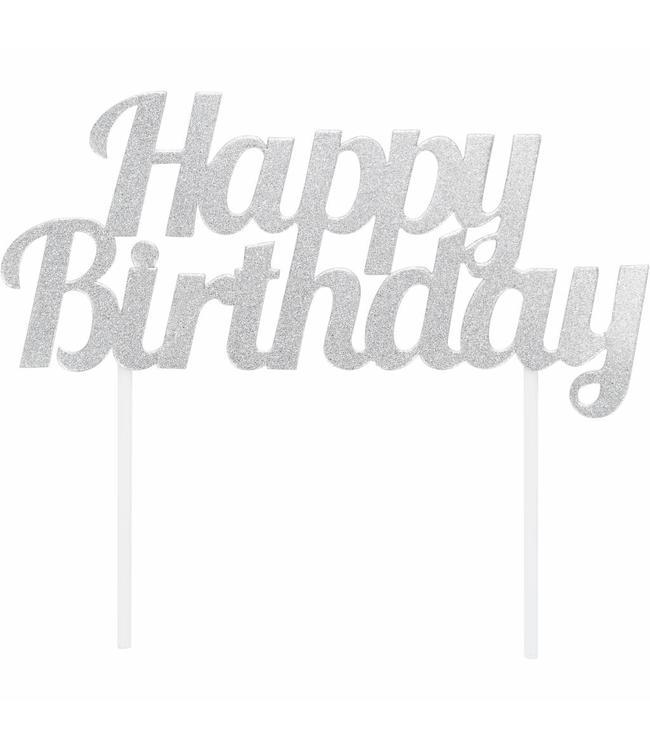 Creative Party Cake Topper 'Happy Birthday' Zilver - per stuk