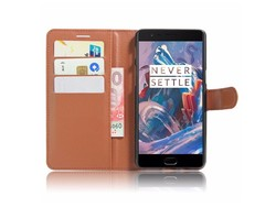 OPPRO Wallet Flip Case Bruin OnePlus 3