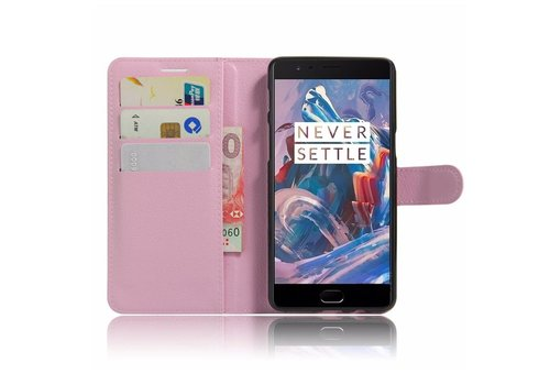 OPPRO Wallet Flip Case Light Pink OnePlus 3