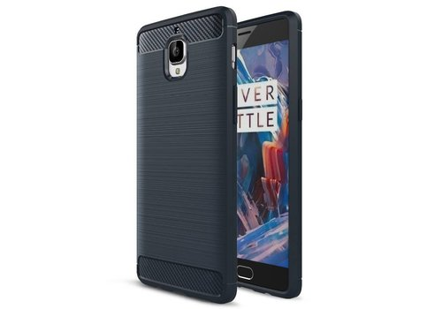 OPPRO Brushed Rugged Armor Blauw Hoesje OnePlus 3/3T