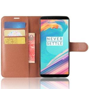 OPPRO Wallet Flip Case Brown OnePlus 5T
