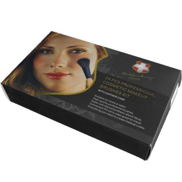 Professionele Bilderberg Beauty 24-delige make-up borstel set met Travel Case in cadeauverpakking