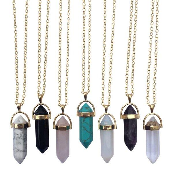 Gemstone ketting Opal goud