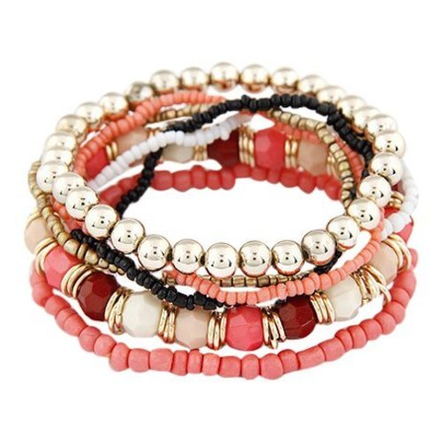 Bohemian style armbandjes koraal