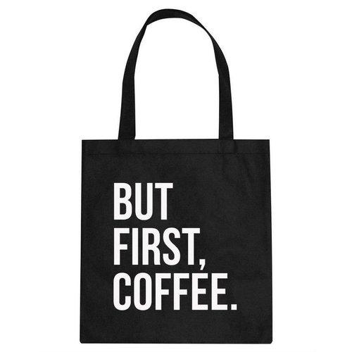 Canvas tas zwart  But First Coffee