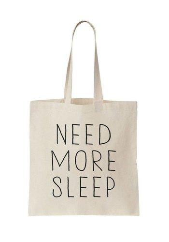 Canvas tas wit need more sleep
