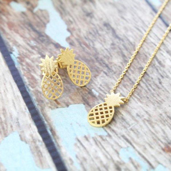 Pineapple oorbellen goud