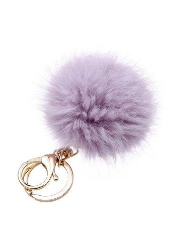 Fur keychain paars  (goud/zilver)