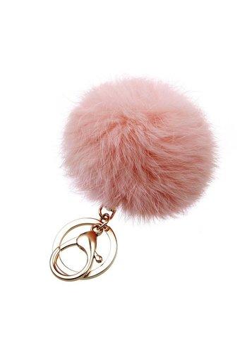 Fur keychain peach  (goud/zilver)