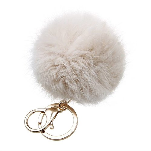 Fur keychain beige  (goud/zilver)
