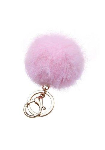 Fur keychain roze  (goud/zilver)