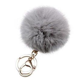 Fur keychain grijs