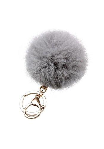 Fur keychain grijs  (goud/zilver)