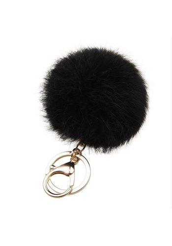 Fur keychain zwart (goud/zilver)