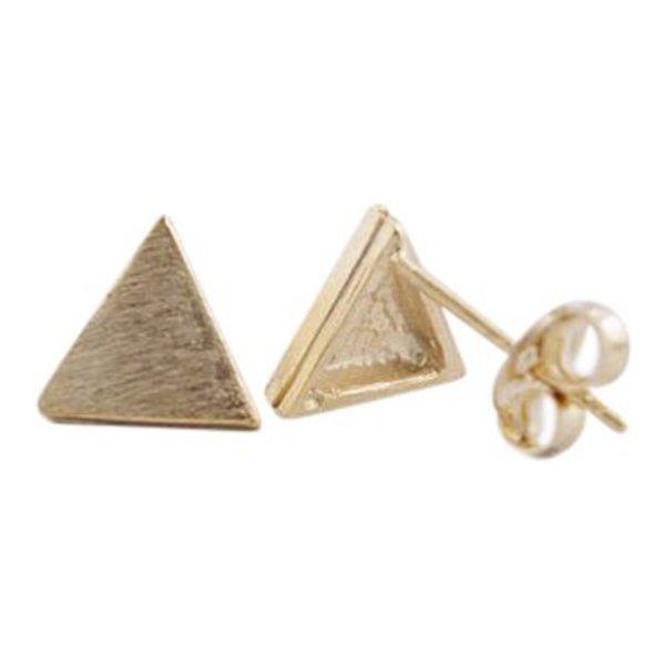 Triangle plate stud oorbellen goud