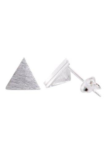 Triangle plate stud oorbellen zilver