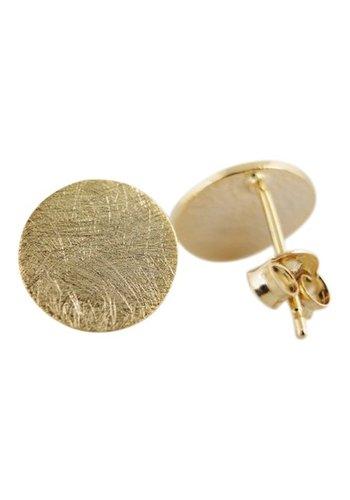 Circle plate stud oorbellen goud