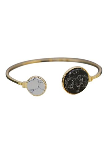 Marble stone bangle black/white