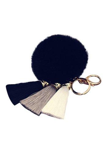 Fur pompom tassels keychain zwart