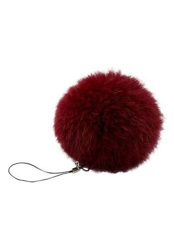 Pompom sleutelhanger rood