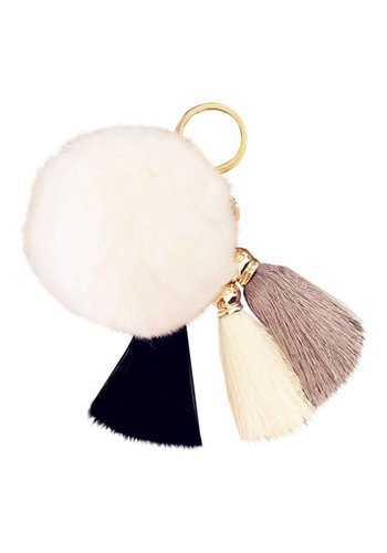 Fur pompom tassels keychain wit