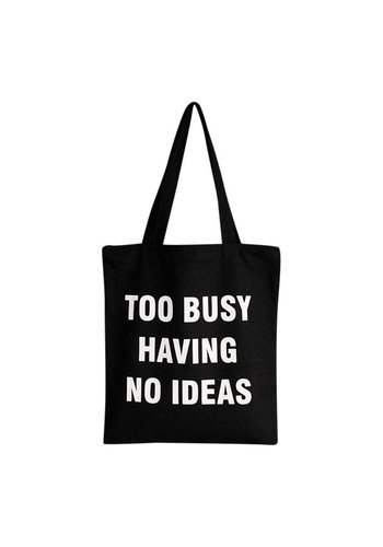 Too busy having no ideas canvas tas zwart