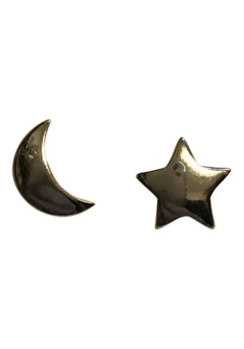 Maan en ster oorbellen 925 sterling silver
