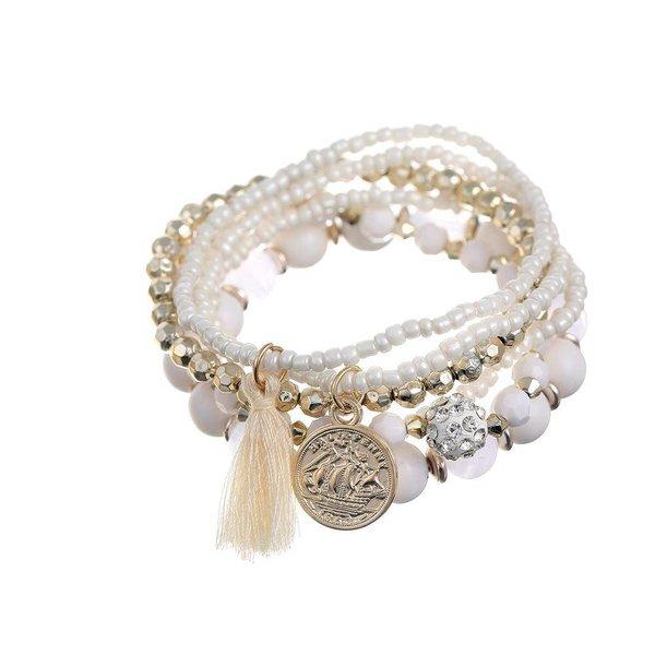 Bohemian armbanden setje wit