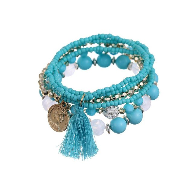 Bohemian armbanden setje blauw
