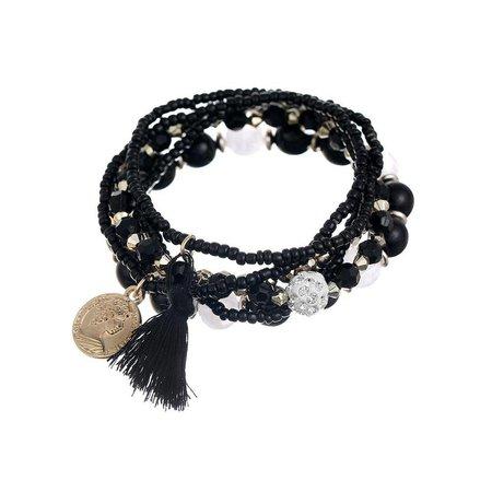 Bohemian armbanden setje zwart