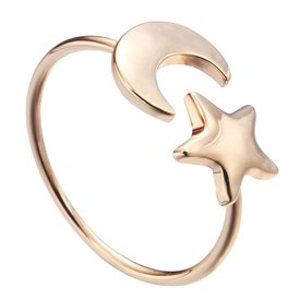 Moon & star ring