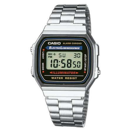 Casio A168WA-1YES Zilver 34mm