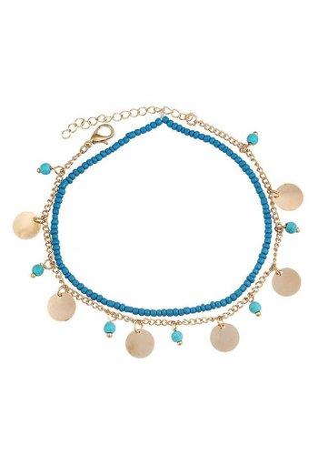 Beads & coins enkelbandje goud