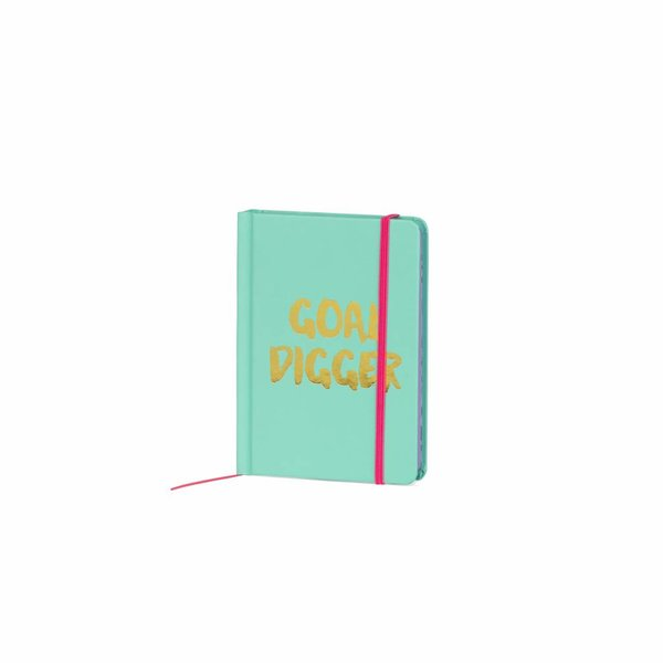 Notebook small hardcover / gold foil stamp / contrast colored edges&band jade