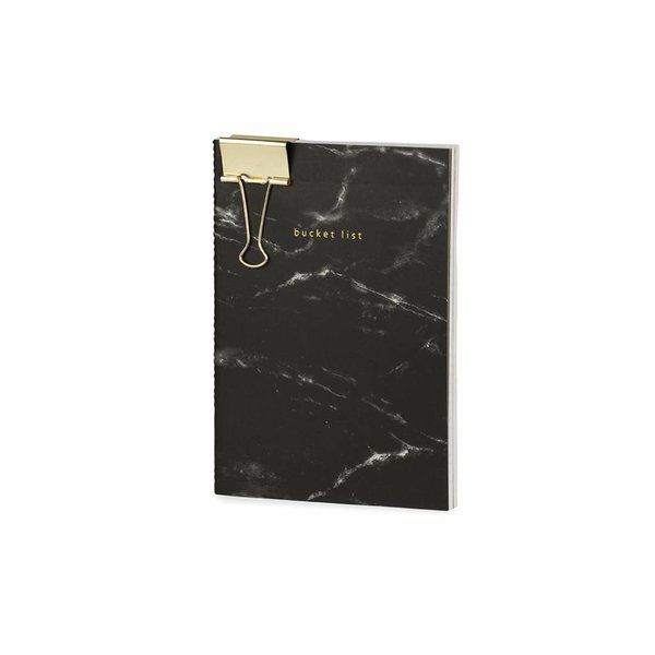 Notebook medium softcover / set of 2 / marble / foil stamp / clip