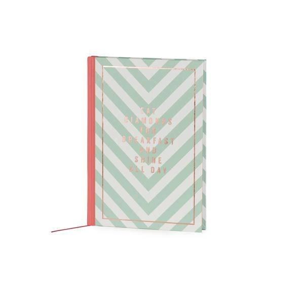 Notebook medium hardcover / gold foil print stamp /  stripes