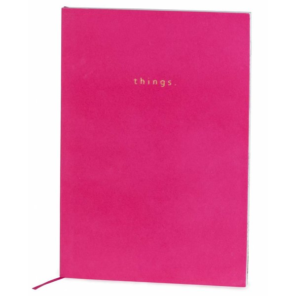 Notebook softcover super soft velvet / foil stamp / colored inner pages / pink