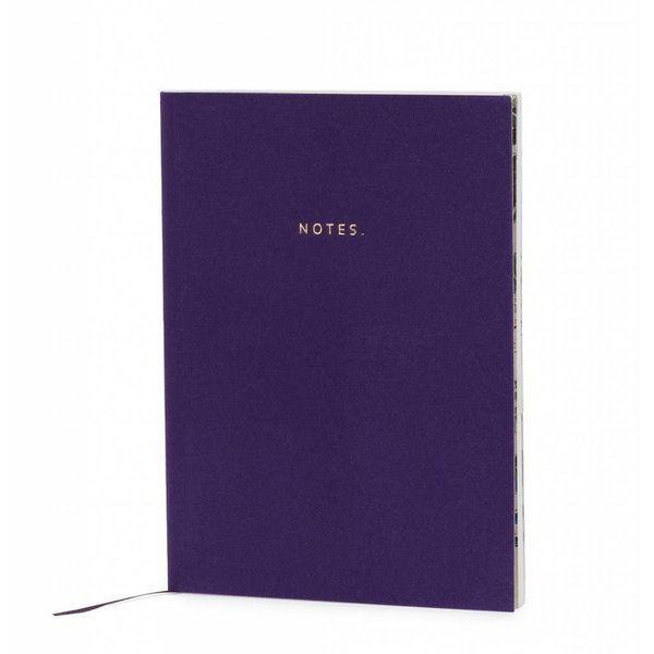 Notebook softcover super soft velvet / foil stamp / colored inner pages / purple
