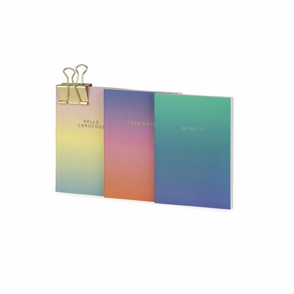 Notebook small softcover / set of 3 / gradient + quote / foil stamp / clip