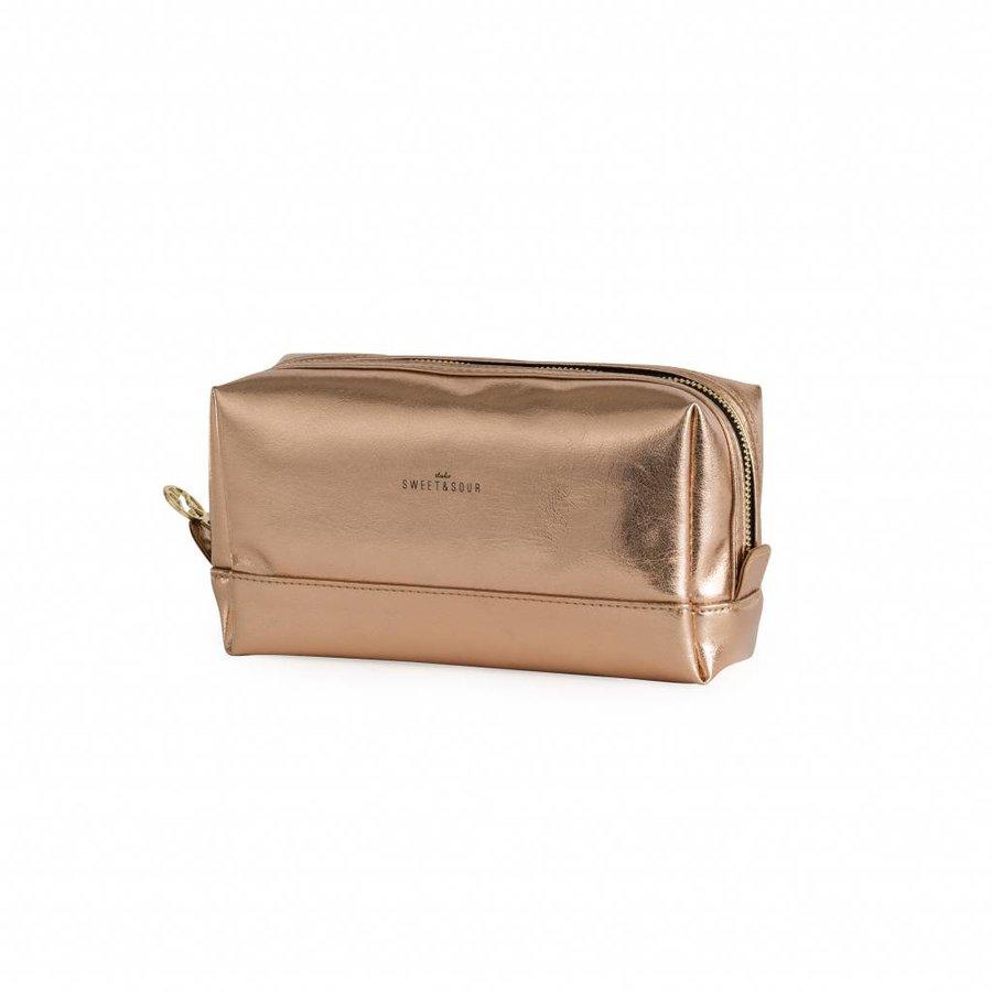 Make-up bag square medium / copper / PU