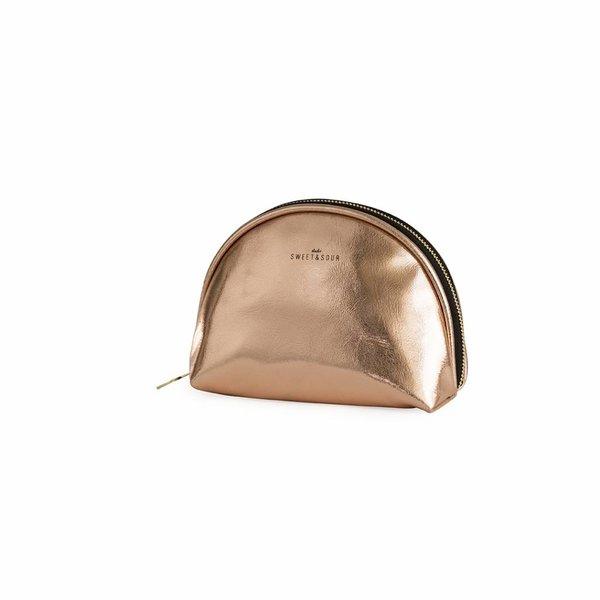 Make-up bag round small / copper / PU
