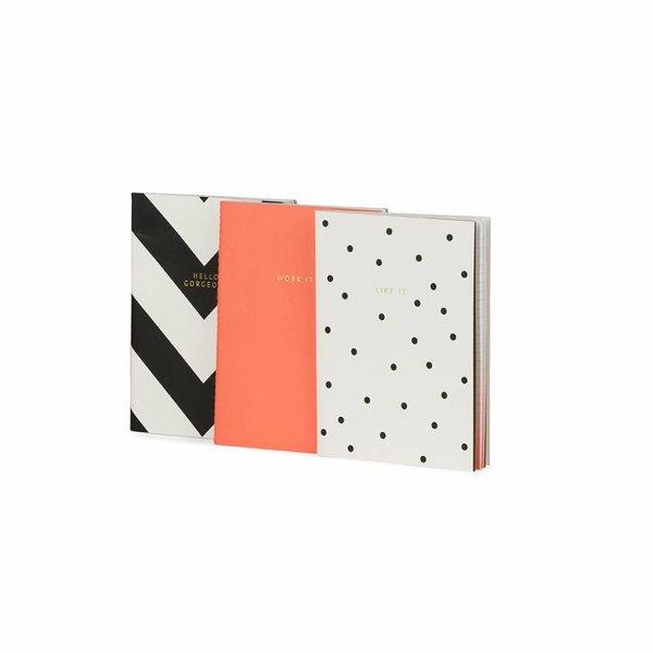 Notebook small softcover / set of 3 / thread sewn / foil / fluo