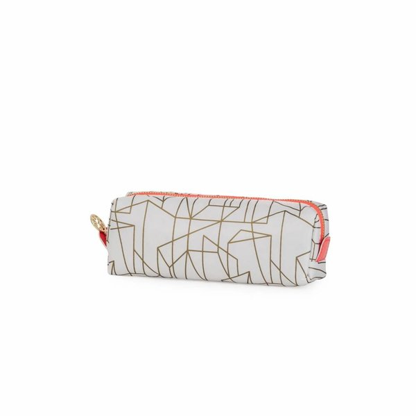 Make-up bag square small / offwhite gold allover