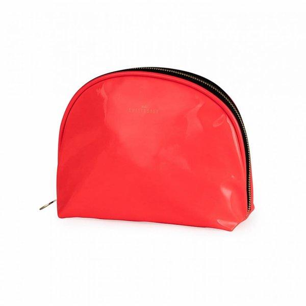 Make-up bag round medium / neon coral / PU